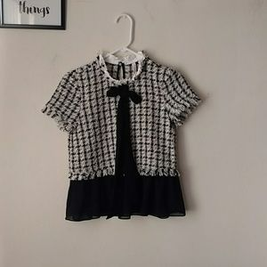 ZARA TRAFALUC tweed blouse NWT womens XS